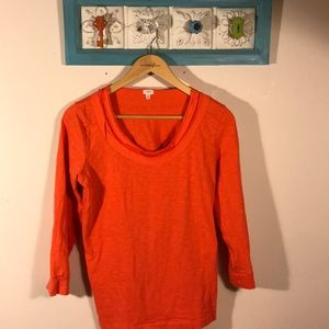 J. Crew coral long sleeved cotton top M